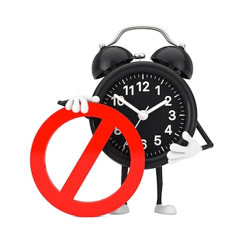 白地に赤の禁止または禁止標識の目覚まし時計の人のキャラクターのマスコット。 3dレンダリング