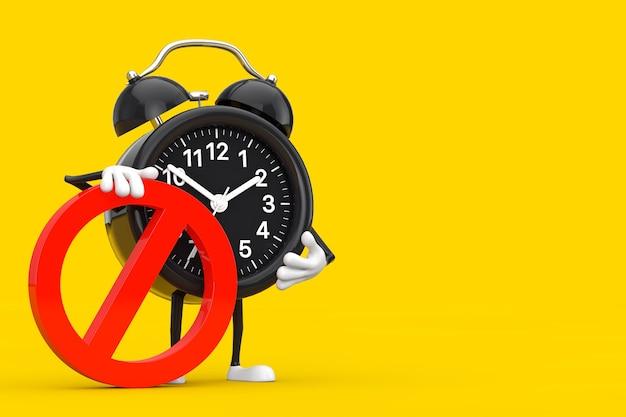 黄色の背景に赤い禁止または禁止記号の目覚まし時計の人のキャラクターのマスコット。 3dレンダリング