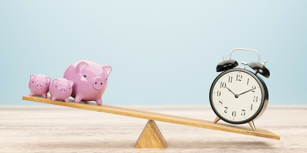 Alarm clock and piggy bank balancing on seesaw. time is money concept. 3d illustration