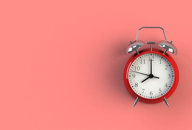 Alarm clock on red background, 3d rendering