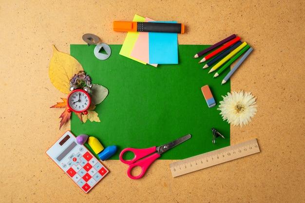 Alarm clock and school supplies