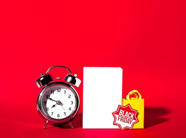 Alarm clock, sheet and shopping packet