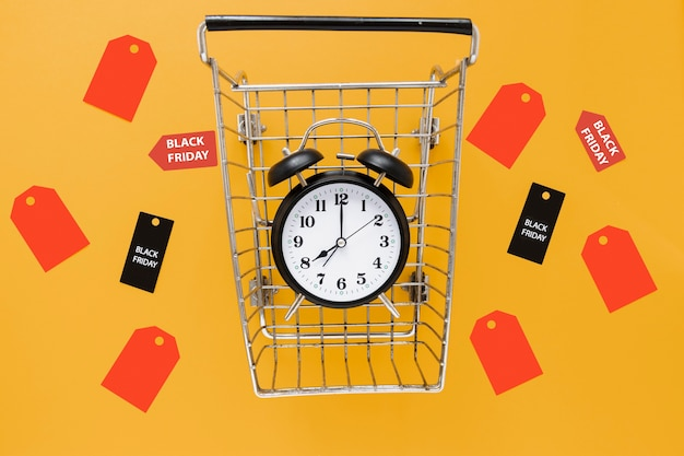 Alarm clock in shopping cart surrounded by tags