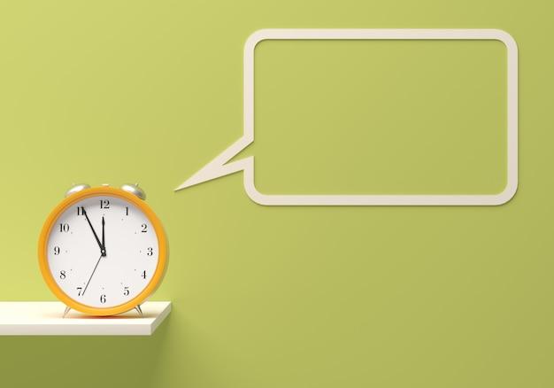 Alarm clock with blank speech bubble