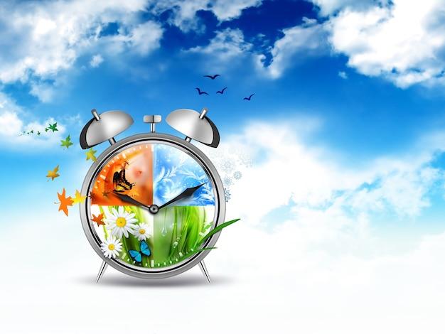 Будильник с four seasons - изображение концепции времени