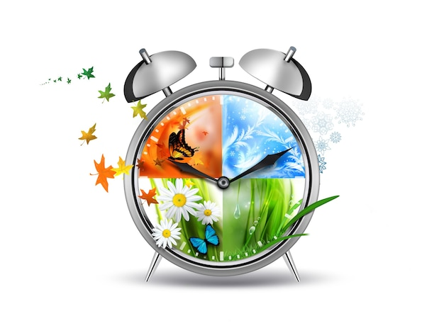 Будильник с изображением концепции времени четыре сезона Premium Фотографии