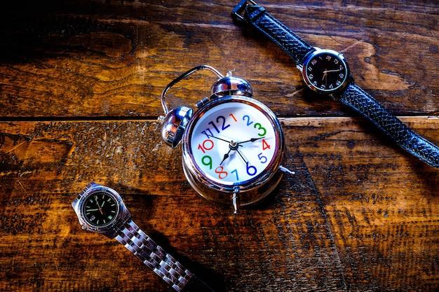 Alarm clock with wooden wrist watch