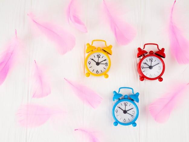 Alarm clocks, retro style, tinted glass