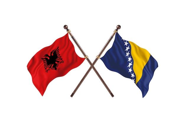 알바니아 대 보스니아 헤르체고비나 two flags