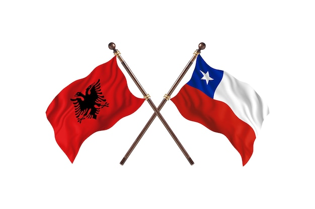 アルバニア対チリの2つの旗