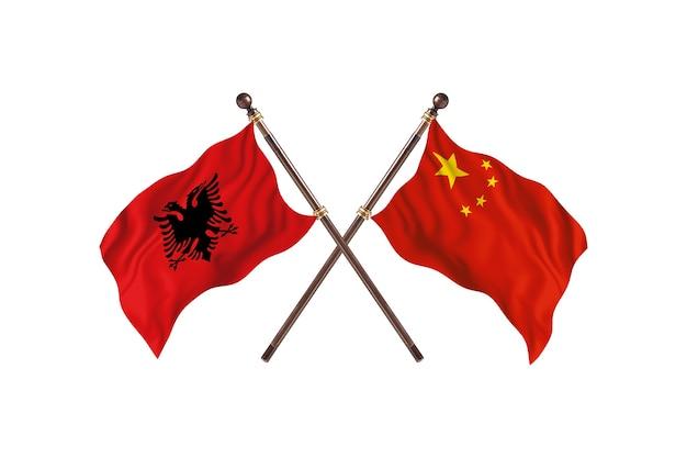 알바니아 대 중국 two flags