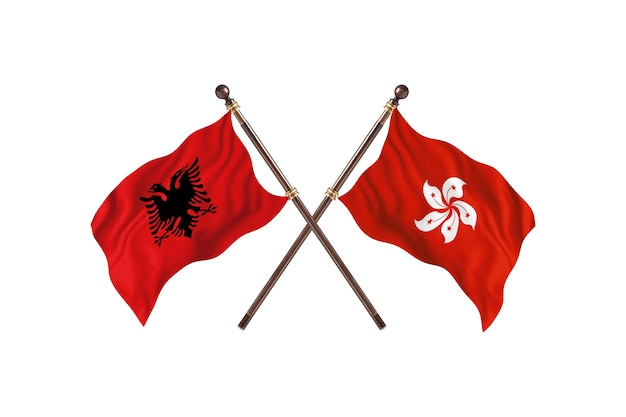 アルバニア対香港の2つの旗