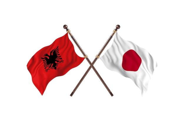 アルバニア対日本2つの旗