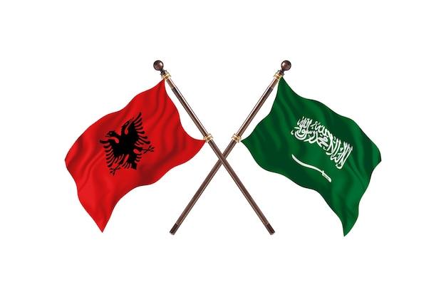 アルバニア対サウジアラビア2つの旗