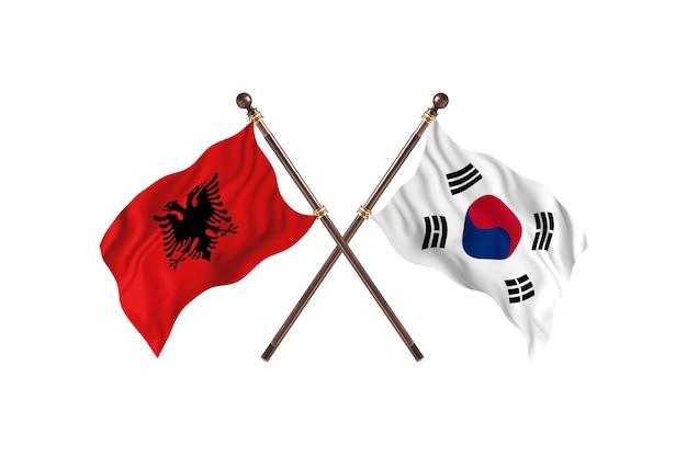 アルバニア対韓国2つの旗