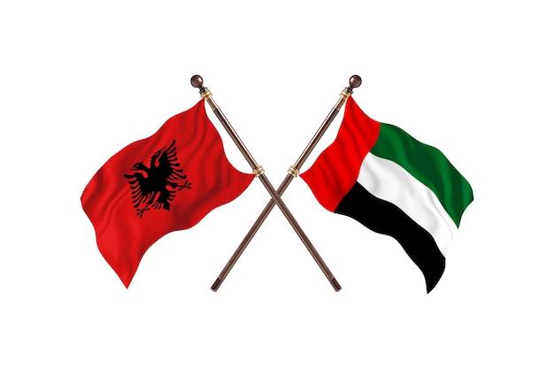 Albania versus united arab emirates two flags