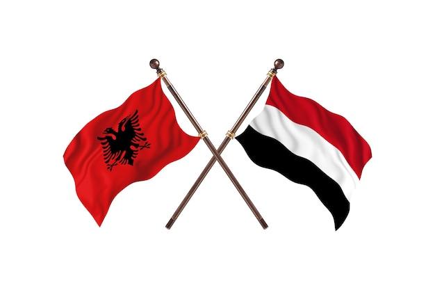 アルバニア対イエメンの2つの旗
