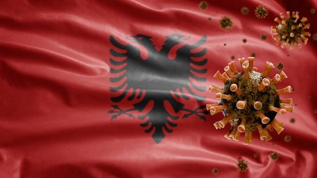 코로나 바이러스 현미경 바이러스와 함께 흔들며 알바니아 깃발