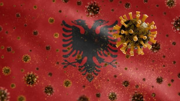 코로나 바이러스 현미경 바이러스와 함께 흔들며 알바니아 깃발 프리미엄 사진