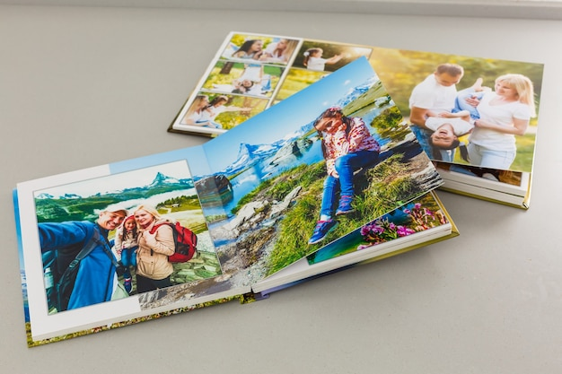 Album with photos of travel and vintage, photo book