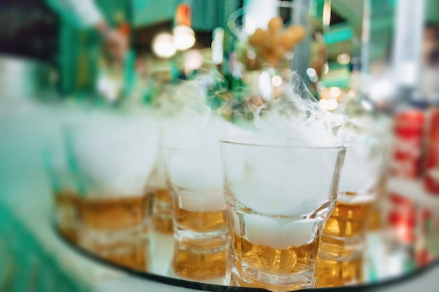 Alcohol at celebrations in glasses and buffets