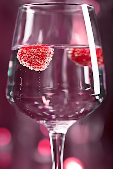 Alcohol cocktail with raspberry