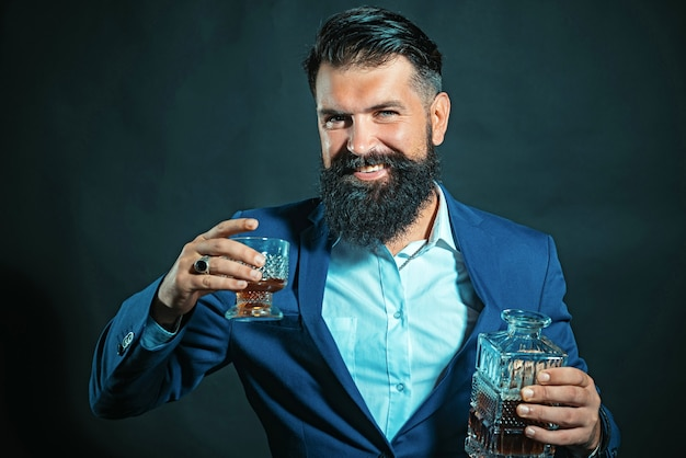 Alcohol concept. alcohol drink. retro vintage man with whiskey or scotch