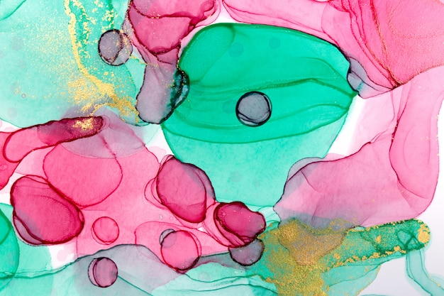 Alcohol ink abstract background. floral style watercolor texture. pink, green and gold paint stains illustration.