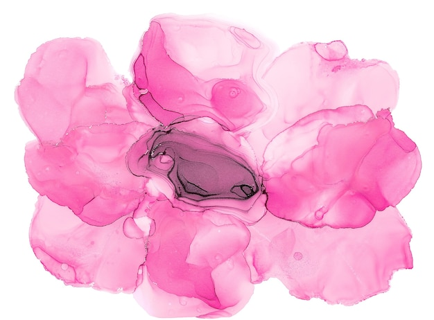 Alcohol ink art. abstract fluid art painting alcohol ink technique  pink flower