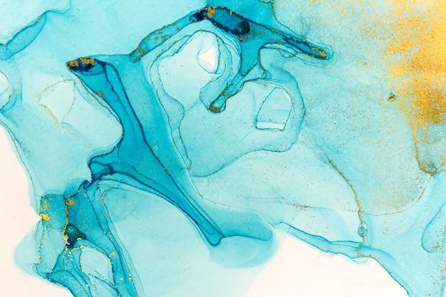 Чернила спиртовые синие прозрачные. океан стиль акварель капли текстуры.