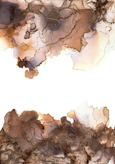 Alcohol ink colors translucent. abstract brown. black and gold marble texture background. design wrapping paper, wallpaper. mixing acrylic paints. modern fluid art.