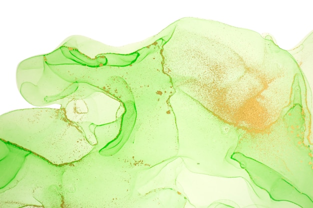 Alcohol ink gold and light green abstract background