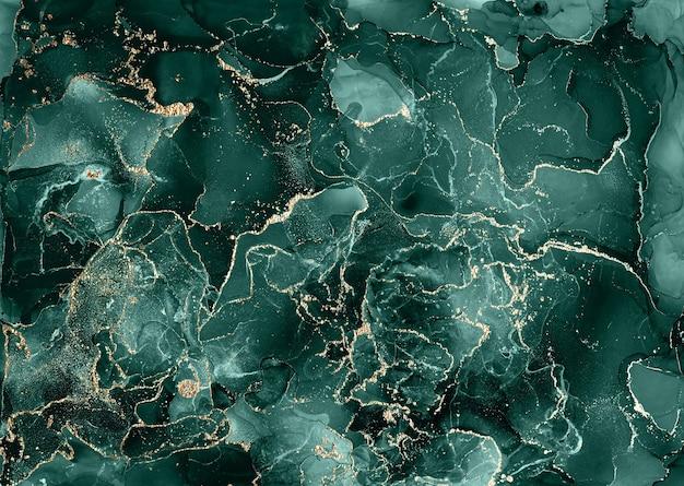 Спиртовые чернила современная синяя и золотая абстрактная живопись, современный дизайн современного искусства