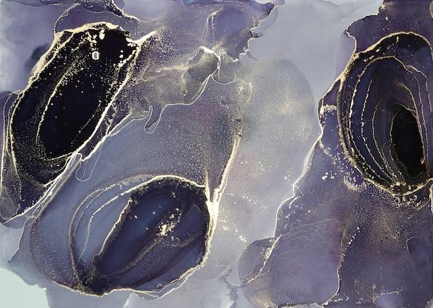 Алкогольные чернила, современная фиолетовая, черная и золотая абстрактная живопись, современный дизайн современного искусства