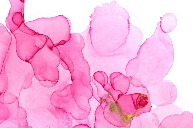 アルコールインクピンクの抽象的な背景。花のスタイルの水彩テクスチャ。ピンクとゴールドの塗料汚れ