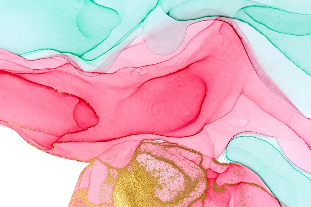 Alcohol ink pink, green and gold abstract stains. drops watercolor transparent texture.