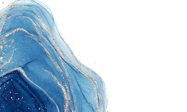 Alcohol liquid with blue ink with golden sparkles