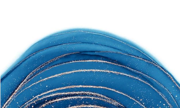 Спиртовая жидкость с синими чернилами с золотыми блестками