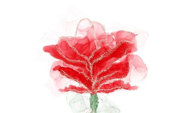 Спиртовая жидкость с красными чернилами с золотыми блестками в форме цветка