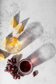 Alcoholic beverage cocktail and wine