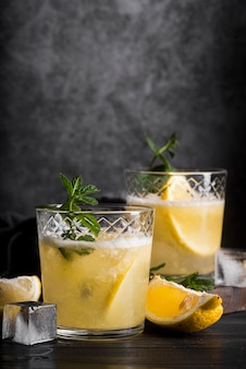 Alcoholic beverage cocktail with lemon and mint
