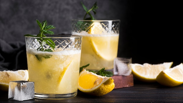 Alcoholic beverage cocktail with slices of lemon