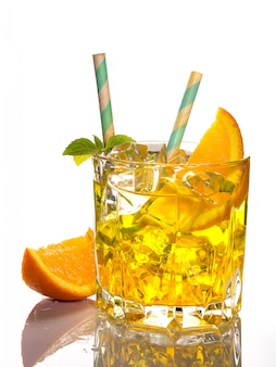 Alcoholic cocktail of the godfather with orange and ice, isolated on white background