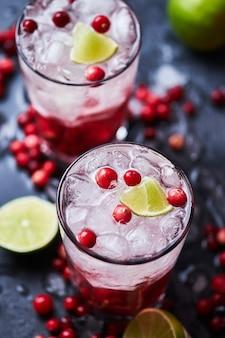 ウォッカ、クランベリージュース、氷を使ったアルコールカクテル。ライムと新鮮なクランベリーを添えた、カサブランカグラスのケープコッダーカクテル2杯。