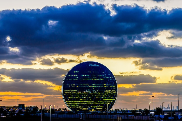 The aldar headquarters building is the first circular building in the middle east in abu dhabi, uae