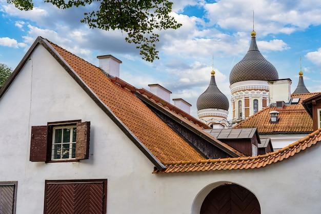 해질녘 탈린의 알렉산더 넵스키 정교회 대성당. 에스토니아.