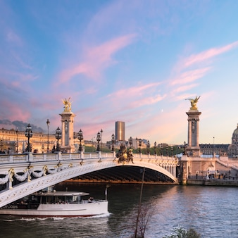 Alexandre bridge in paris on a sunset
