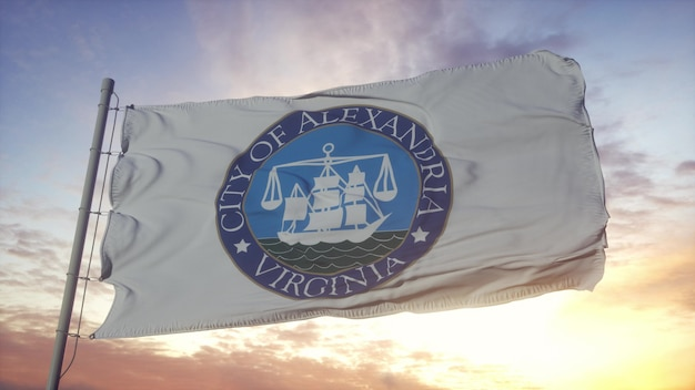 Alexandria flag, virginia, waving in the wind, sky and sun background. 3d rendering.