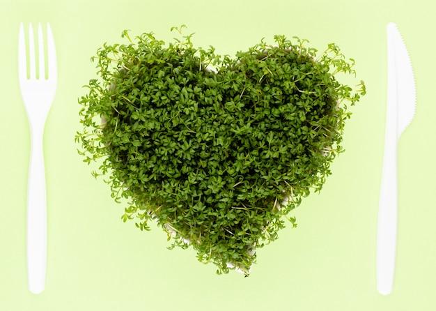 Ростки семян люцерны, суперпродукты здорового питания и концепция чистого питания, вид сверху ростков семян в форме сердца.