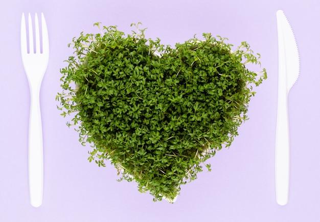 Ростки семян люцерны, суперпродукты здорового питания и концепция чистого питания, проростки семян в форме сердца
